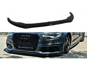 Накладка сплиттер на передний бампер от Maxton Design для Audi A6 C7 S-Line