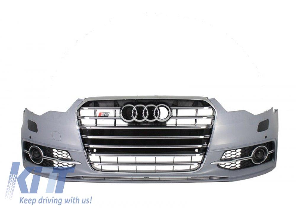 Бампер передний в стиле S6 под ПТФ от KITT на Audi A6 C7
