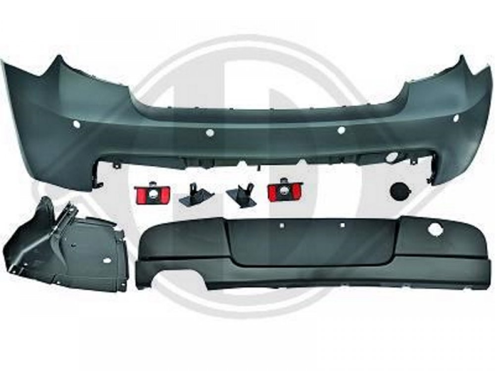 Бампер задний в стиле M-Tech для BMW 1 E87 под 1 выхлоп