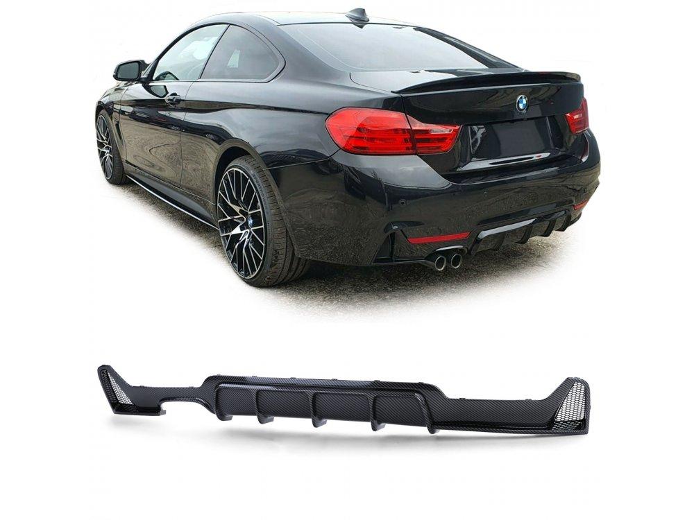 Диффузор заднего бампера под 1 выхлоп под карбон в стиле M-Performance для BMW 4 F32 / F36