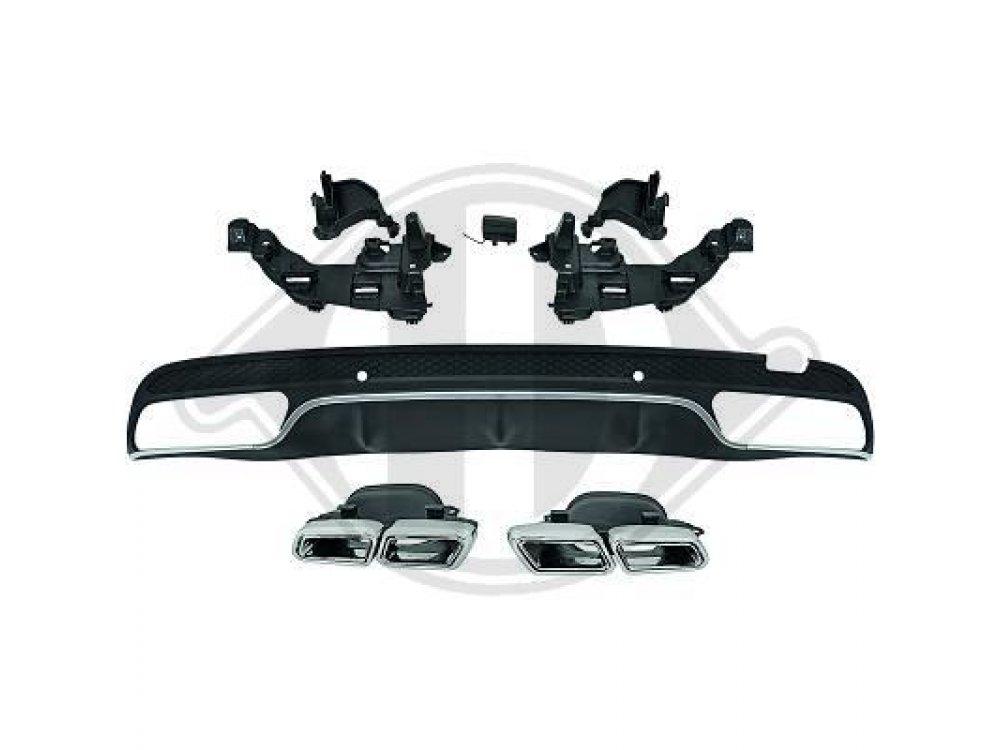 Диффузор заднего бампера с насадками C63 AMG Look от HD на Mercedes C класс W205
