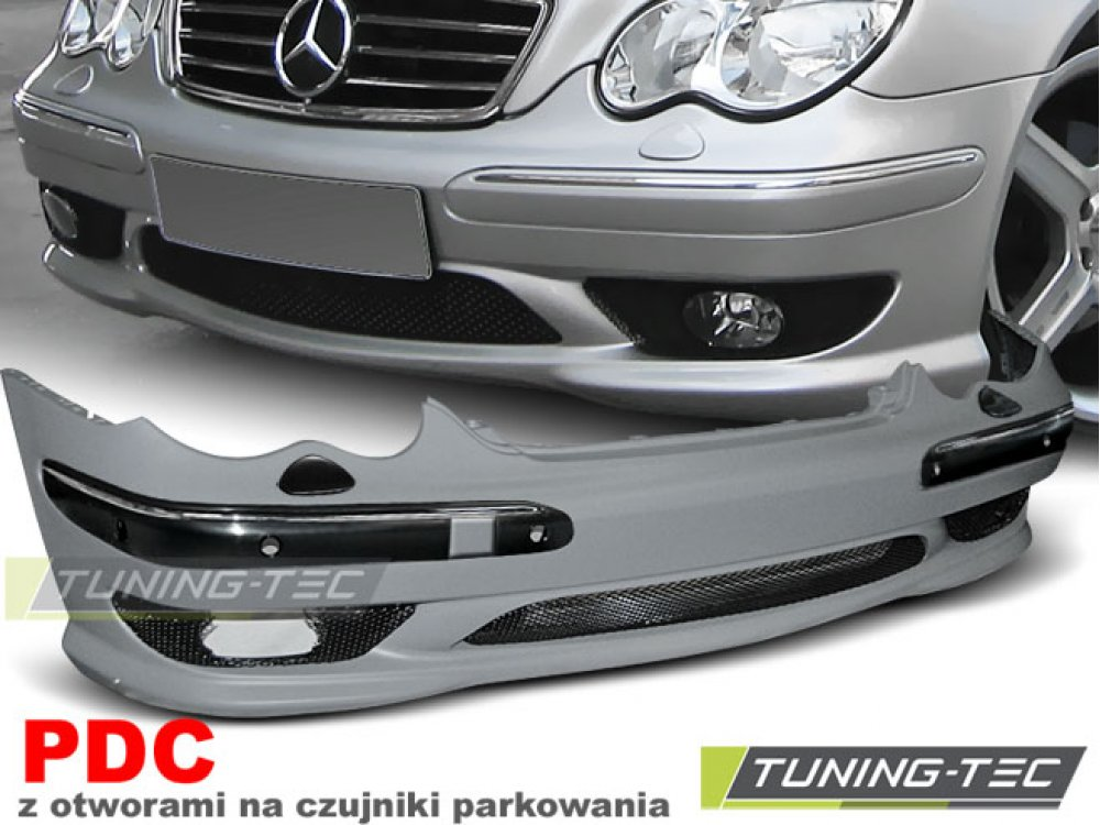Бампер передний под парктроники C32 AMG Look на Mercedes C класс W203
