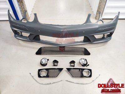 Бампер передний в стиле AMG 6.3 рестайл для Mercedes E класс W211 под омыватели и парктроники (оригинальный АБС пластик)