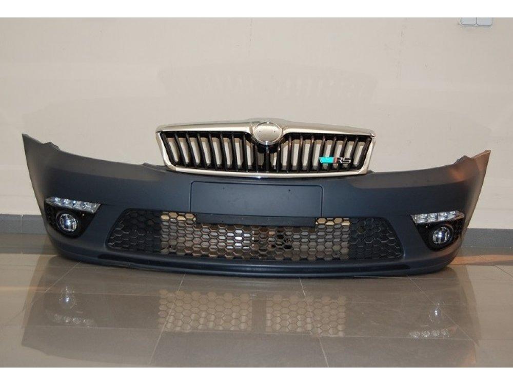 Бампер передний RS Look от Eurolineas на Skoda Octavia II рестайл