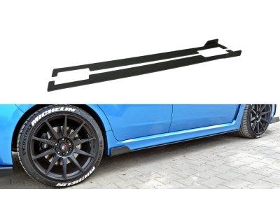 Накладки сплиттеры на пороги Var2 от Maxton Design для Subaru Impreza III WRX STI
