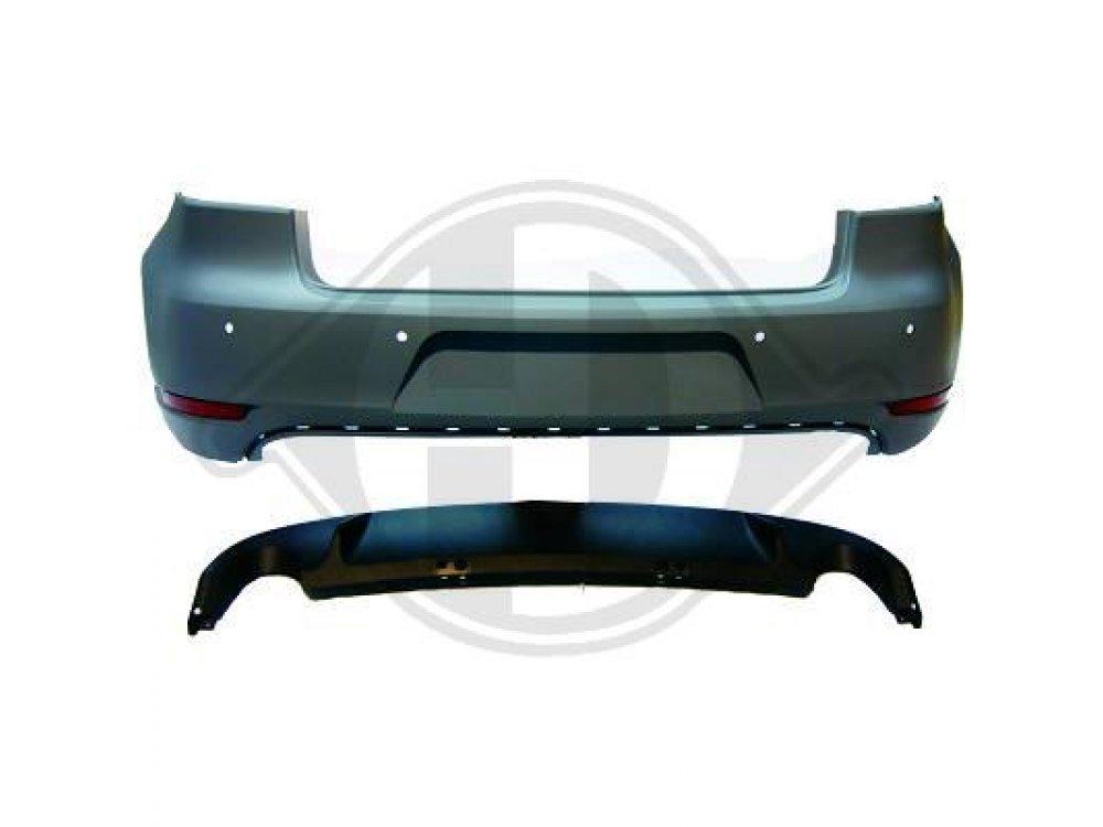 Бампер задний от HD в стиле GTI под 2 трубы на Volkswagen Golf VI
