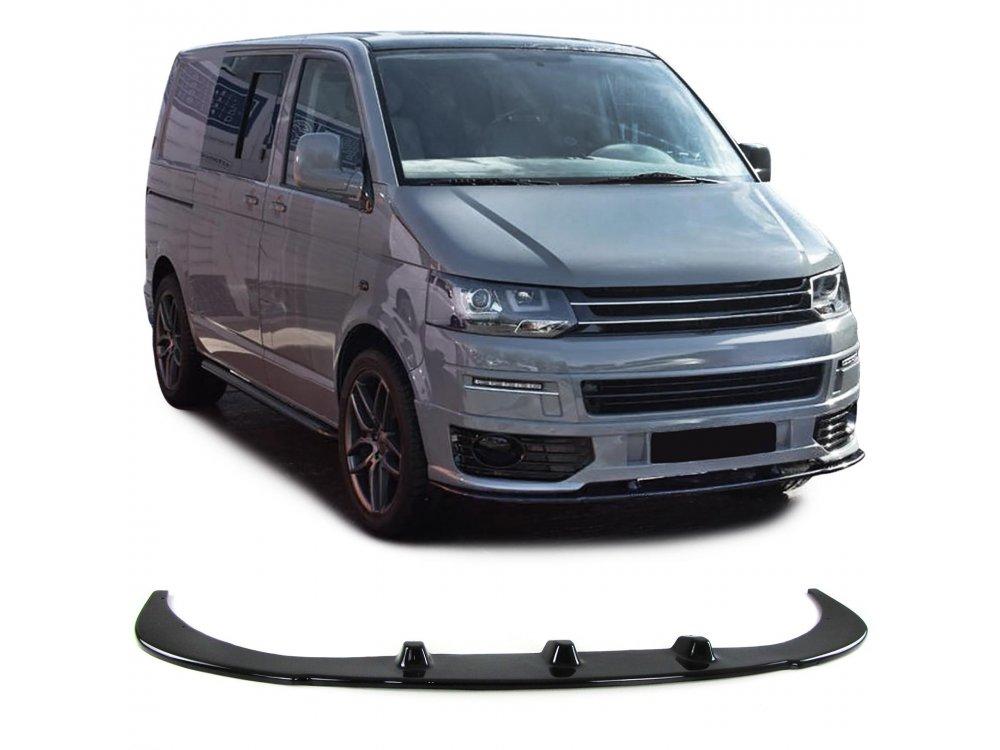 Сплиттер для переднего бампера чёрный глянец от Carparts на VW T5 Sportline