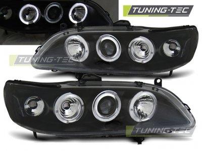 Передние фары с ангельскими глазками чёрные Angel Eyes Black от Tuning-Tec для Honda Accord VI USA