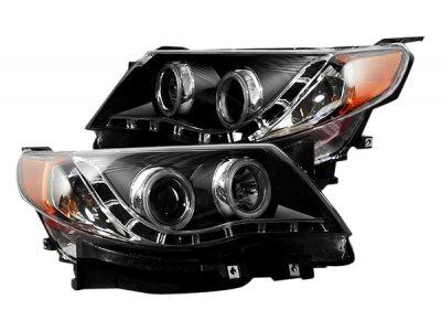 Передние фары CCFL Angel Eyes Black от CarID на Subaru Forester III