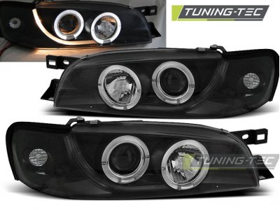 Передние фары Angel Eyes Black от Tuning Tec на Subaru Impreza I