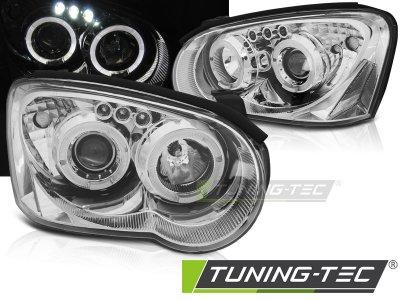 Передние фары Angel Eyes Chrome от Tuning-Tec на Subaru Impreza II
