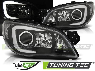 Передние фары TubeLight Black от Tuning-Tec на Subaru Impreza II рестайл