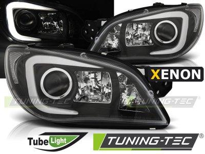 Передние фары TubeLight Black от Tuning-Tec на Subaru Impreza II рестайл XENON
