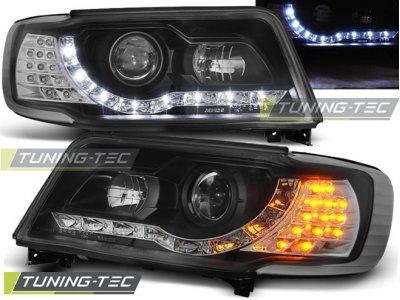 Передние фары Tuning-Tec Daylight чёрные для Audi 100 C4