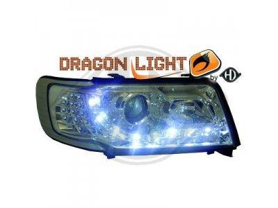 Передние фары HD Dragon Light хром для Audi 100 C4