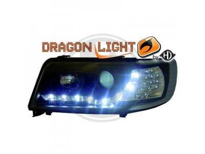 Передние фары HD Dragon Light чёрные для Audi 100 C4