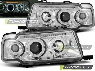 Передние фары Tuning-Tec Angel Eyes хром для Audi 80 B4