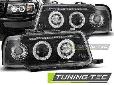 Передние фары Tuning-Tec Angel Eyes чёрные для Audi 80 B4