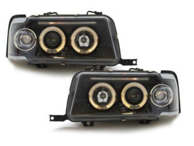 Передние фары Dectane Angel Eyes чёрные для Audi 80 B4