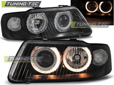 Фары передние Tuning-Tec Angel Eyes Black для Audi A3 8L рестайл