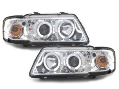 Фары передние Dectane Angel Eyes хром для Audi A3 8L