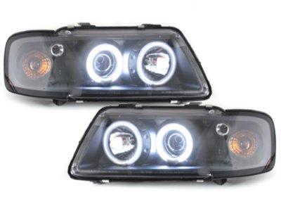 Фары передние CCFL Angel Eyes чёрные для Audi A3 8L