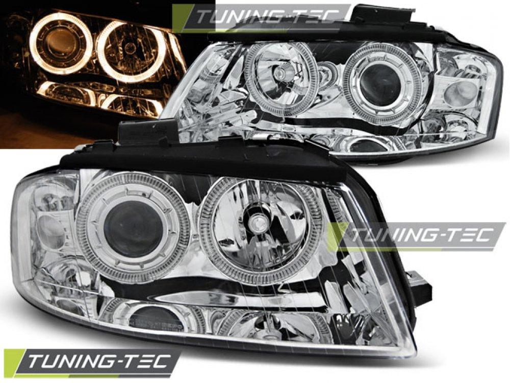 Фары передние Angel Eyes Chrome для Audi A3 8P