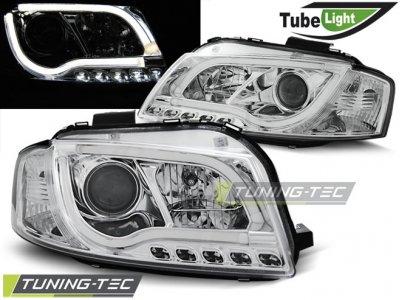 Фары передние Tube Light Chrome для Audi A3 8P