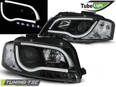 Фары передние Tube Light Black для Audi A3 8P