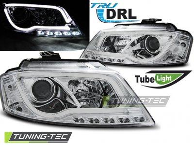 Фары передние Tube Light Chrome для Audi A3 8P рестайл