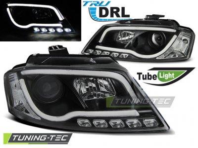 Фары передние Tube Light Black для Audi A3 8P рестайл