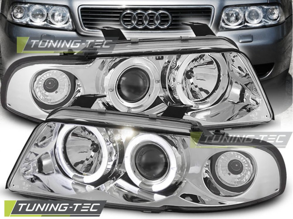 Фары передние Angel Eyes Chrome от Tuning-Tec для Audi A4 B5