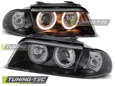 Фары передние Angel Eyes Black V2 для Audi A4 B5 рестайл
