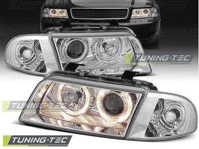Фары передние Angel Eyes Chrome V2 для Audi A4 B5