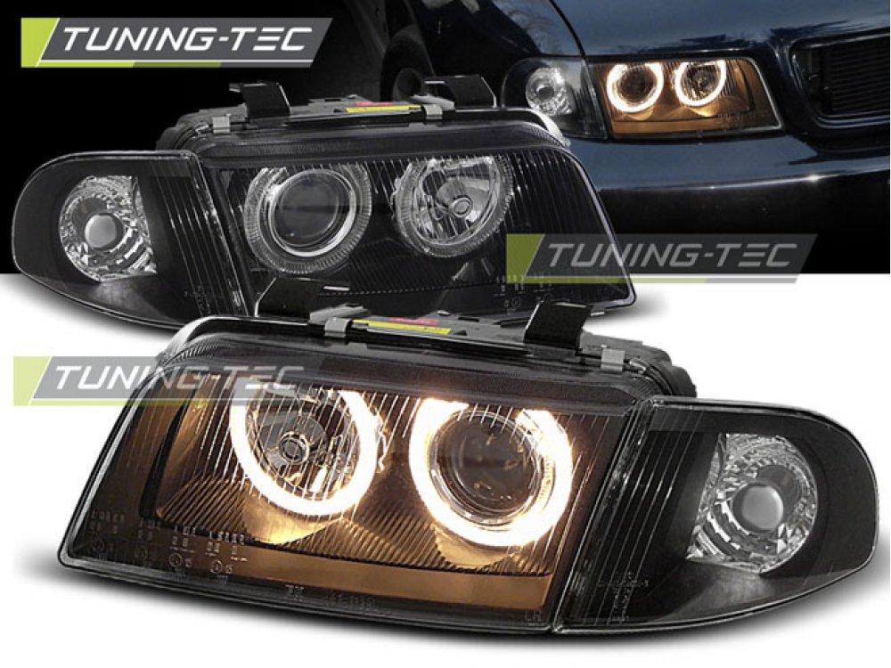 Фары передние Angel Eyes Black V2 для Audi A4 B5