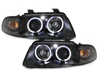 Фары передние Angel Eyes Black для Audi A4 B5