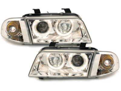 Фары передние Dectane Angel Eyes Chrome для Audi A4 B5