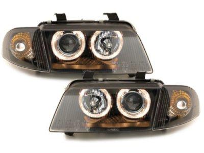 Фары передние Dectane Angel Eyes Black для Audi A4 B5
