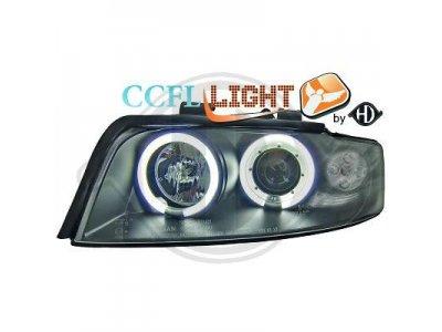 Фары передние CCFL Angel Eyes Black для Audi A4 B6
