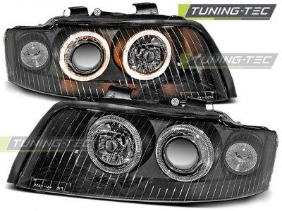 Фары передние Angel Eyes Black Var2 для Audi A4 B6