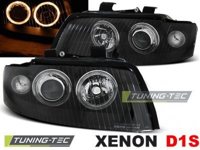 Фары передние Angel Eyes Black для Audi A4 B6 XENON