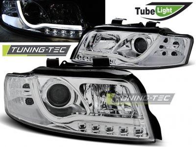 Фары передние Tube Light Chrome для Audi A4 B6