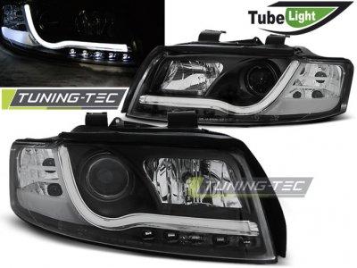 Фары передние Tube Light Black для Audi A4 B6