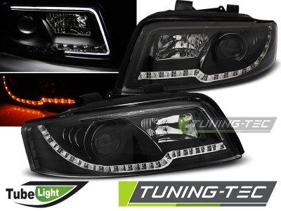 Фары передние Tube Light Evo Black для Audi A4 B6