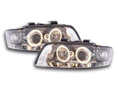 Фары передние Angel Eyes Chrome для Audi A4 B6