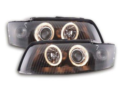Фары передние Angel Eyes Black для Audi A4 B6