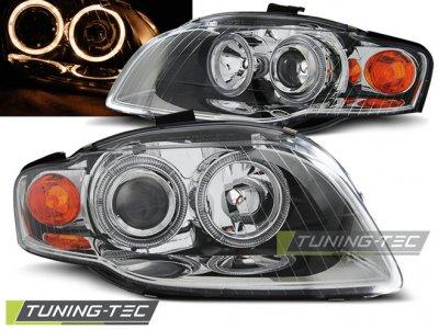 Фары передние Angel Eyes Chrome для Audi A4 B7