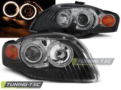 Фары передние Angel Eyes Black для Audi A4 B7