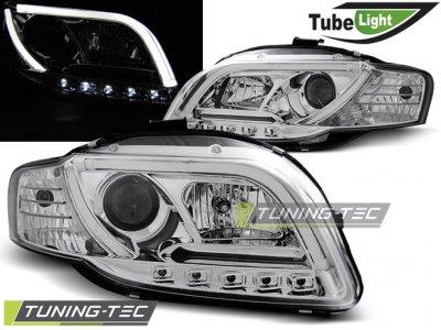 Фары передние Tube Light Chrome для Audi A4 B7