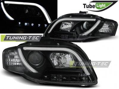 Фары передние Tube Light Black для Audi A4 B7